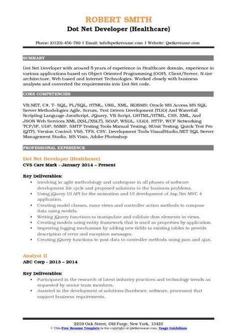 sle resume for dot net developer dot net developer resume sles qwikresume