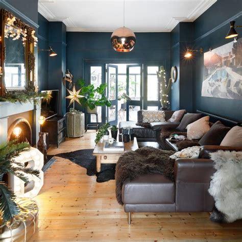 deep blue christmas living room relaxing living room
