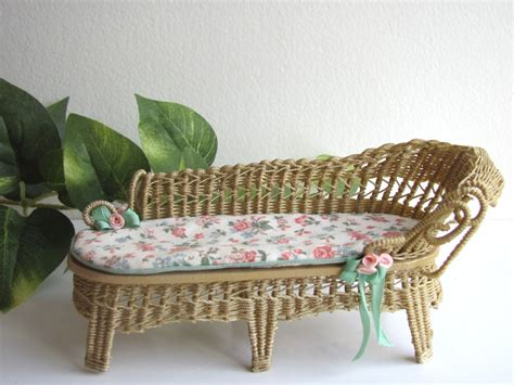 country cottage chic wicker chaise lounge 1 12 miniature