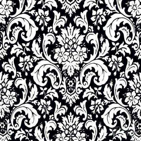 black and white retro pattern black and white paisley pattern vintage painting by