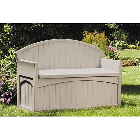 suncast bench suncast 50 gallon deck box with patio bench walmart com