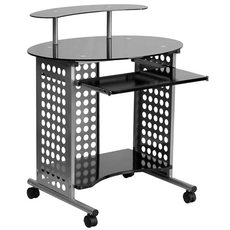 raised computer desk new raised riser black glass mobile computer laptop netbook desk stand cart ebay