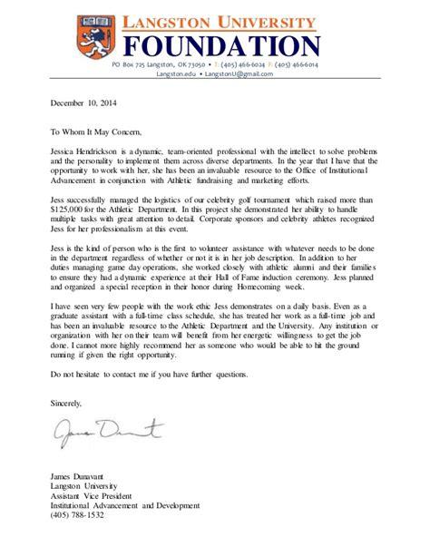 Langston Acceptance Letter Jess Hendrickson Recommendation Letter