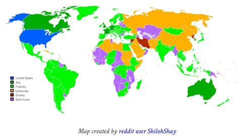 map us allies who americans consider their allies friends enemies