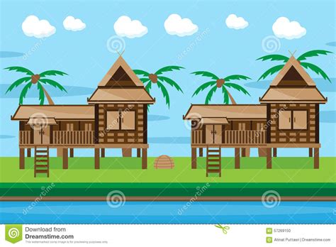 thai style house designs thai house design stock vector image 57269150