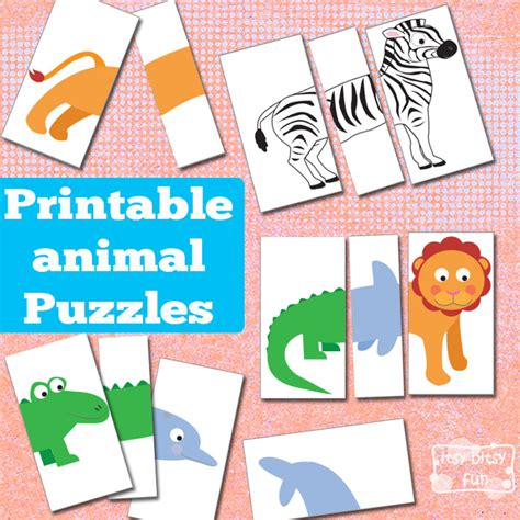 printable puzzles for toddlers printable animal puzzles busy bag busy bags animal and bag