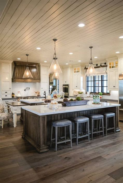 shiplap kitchen hood stained floor stained island shiplap ceiling range
