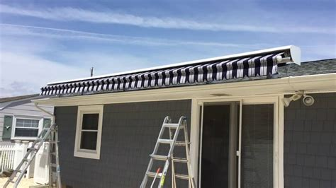 roof mounted awnings large roof mounted retractable awning installation