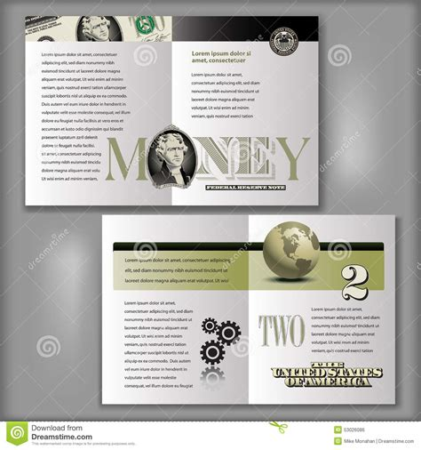 four page brochure template 2 dollar bill brochure template stock vector image 53026086
