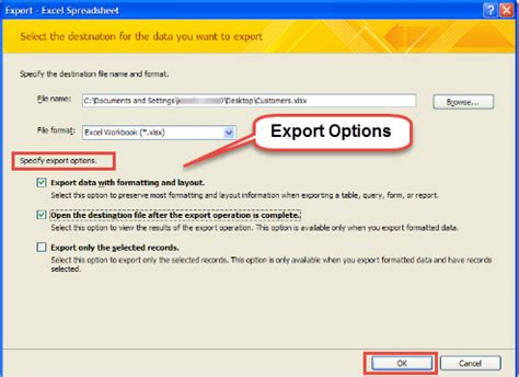 how to export data from microsoft access to ms excel