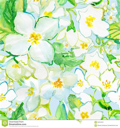 Handmade Flowers From Paper And Fabric - watercolor seamless pattern jusmine flowers stock
