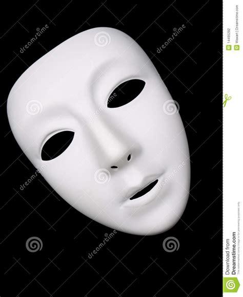 Masker Tiff wit theatraal masker op zwarte achtergrond stock