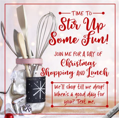 christmas shopping  lunch  invitations ecards greeting cards
