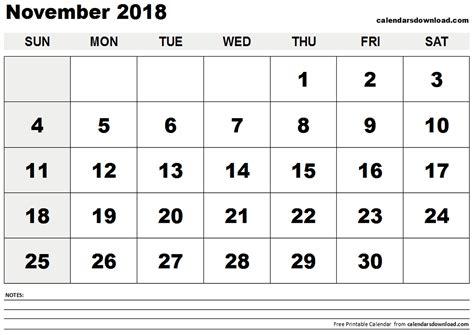 Calendar Nov 2018 November 2018 Calendar