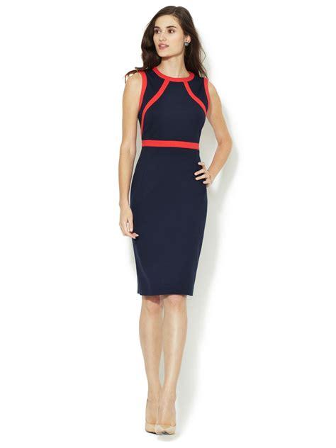 Sheath Contrast Trim Dress paneled contrast trim sheath dress by aiden office