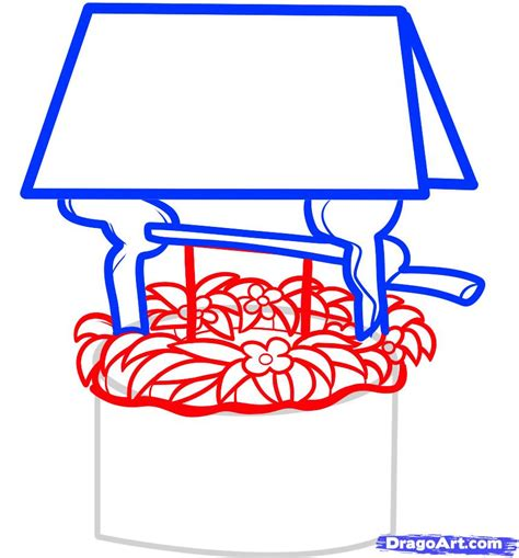 how to draw a how to draw a well wishing well step by step other landmarks places free