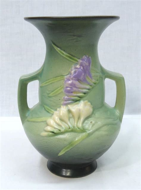 Rosewood Pottery Vase by Roseville Pottery Vase Freesia