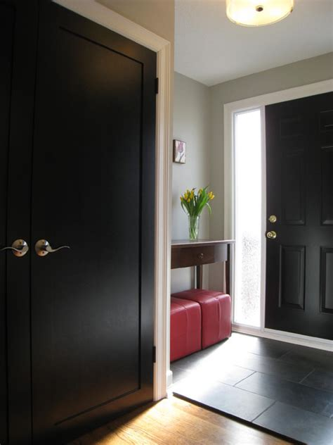 Black Closet Doors by Front Entry With Black Doors Traditional Entry