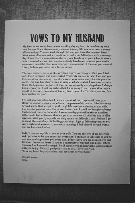 Romantic wedding idea. Vows to my husband.   Inspirational