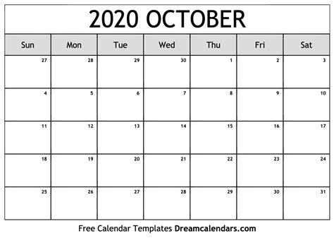 printable blank october  calendar   heart