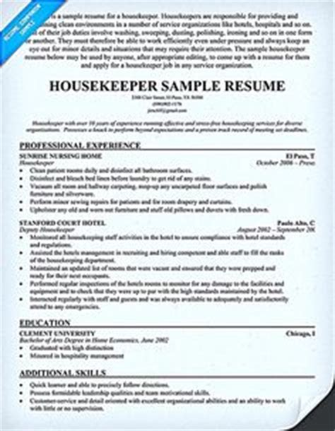 housekeeper resume sles retail sales resume enthusiastican exle of