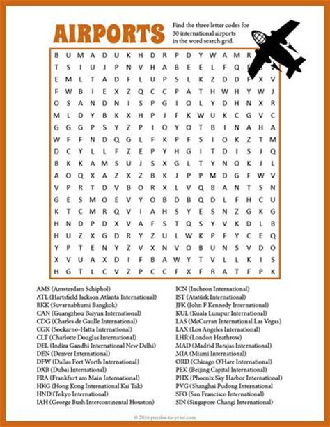 Us Search For Airport Word Search
