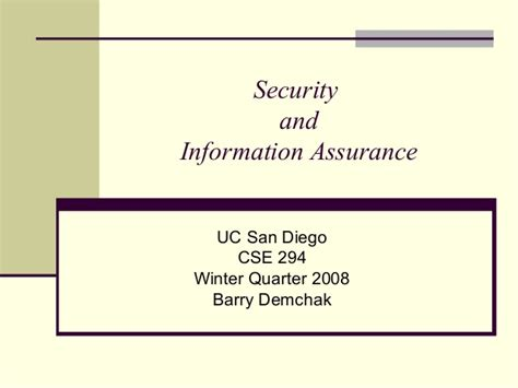 security and information assurance