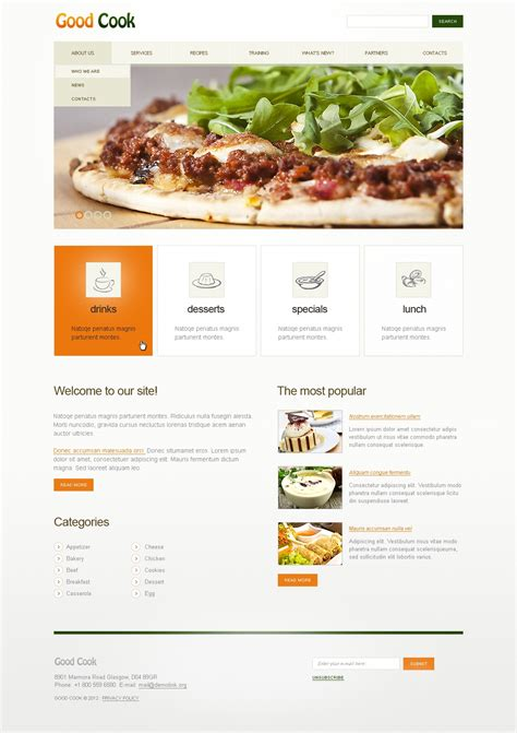recipe templates for blogger cooking website template 39507