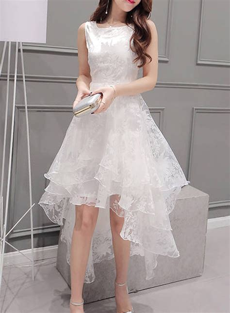 Sleeveless Organza Dress by S Solid Sleeveless High Low Organza Dress