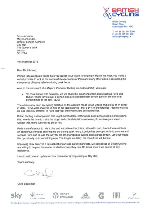 Official Letter On Road Safety chris boardman appeals to boris johnson to improve hgv safety for cyclists cycling weekly