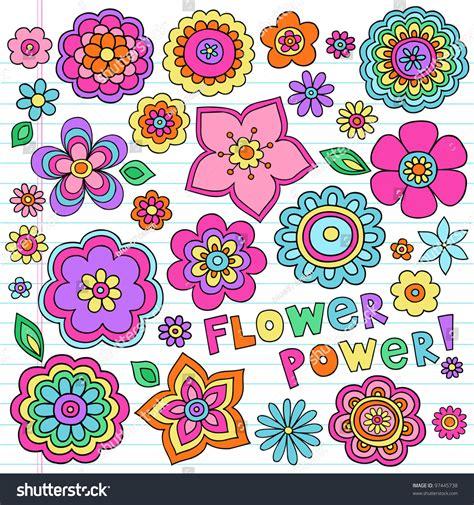 doodle coreldraw flower power flowers groovy psychedelic stock vector