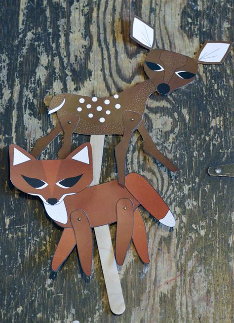How To Make A Paper Fox Puppet - swoon projects ones theater deer