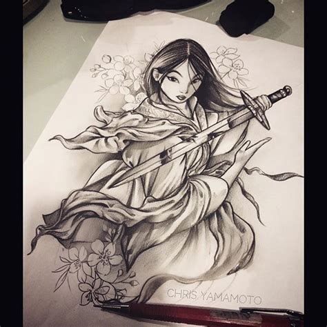 mulan tattoo sketch mulan theinkersclub chrisyamamoto
