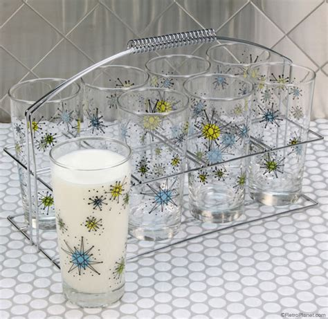 Metal Kitchen Cabinet by Reproduction Atomic Starburst Drinkware Designs From Retro