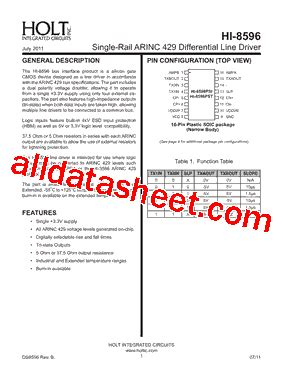 holt integrated circuits wiki hi 8596pstf データシート pdf holt integrated circuits