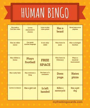 human bingo cards