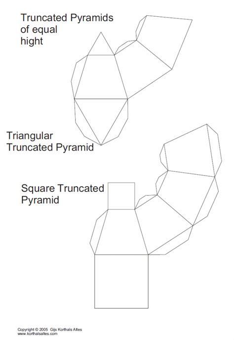 Triangular Pyramid Template net truncated triangular pyramid templates paper