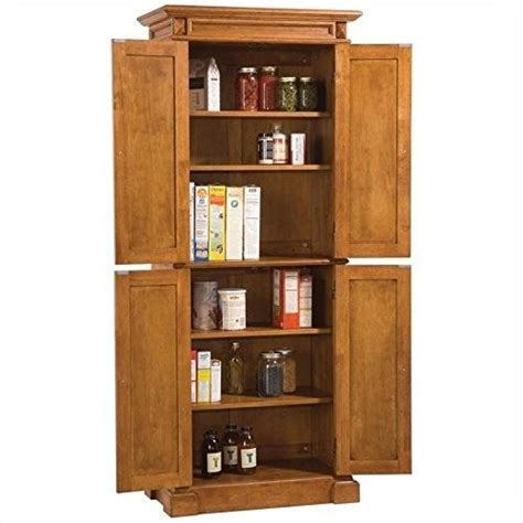Kitchen Food Pantry Cabinet Kitchen Pantry Storage Cabinet Wooden Furniture Distressed Oak Finish New Ebay