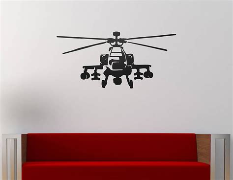 helicopter wall stickers apache helicopter vinyl wall sticker contemporary wall