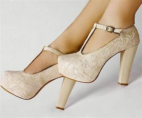 High Heels With Platforms Comfortable by Details About Ivory Lace Flower T Platform