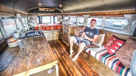 awesome mini skoolie built into a mancave toilet shower