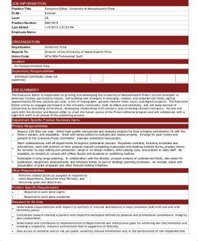 executive editor description executive editor description sle 4 exles in