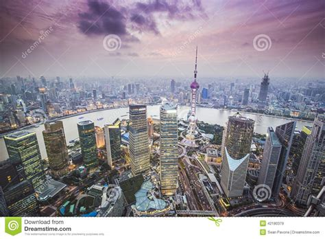 shanghai aerial view stock photo image