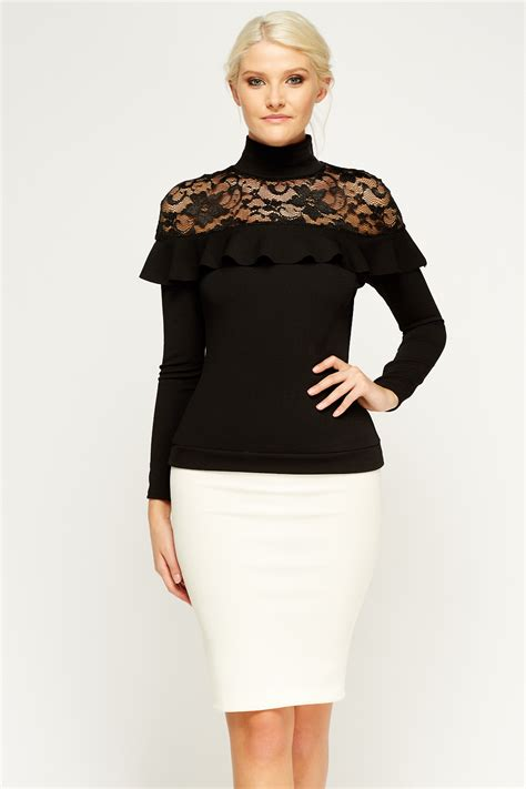 High Neck Lace Top high neck lace insert top just 163 5