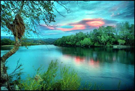 aqua skies rivers nature background wallpapers