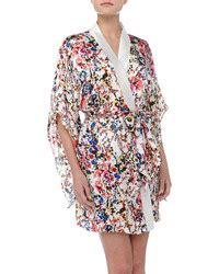 Dress Floral Wst 18714 White Botanical Dress vince else botanical garden print silk kimono