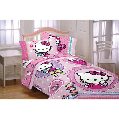 walmart bed in a bag twin hello kitty reversible twin bed in a bag bedding set
