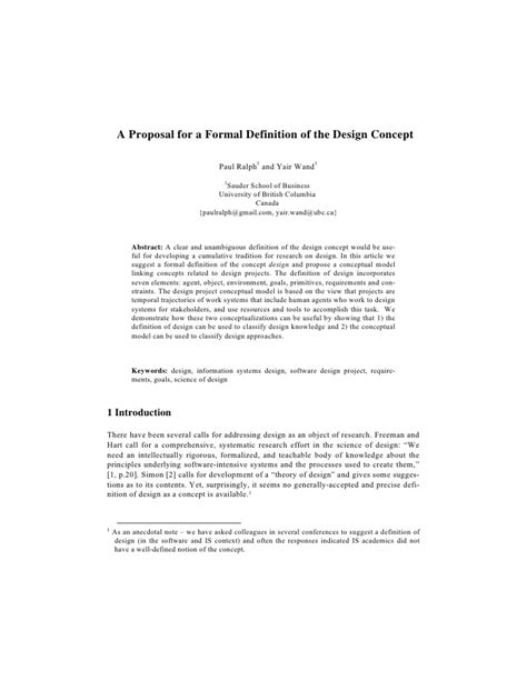 design concept proposal template ralph and wand a proposal for a formal definition of the
