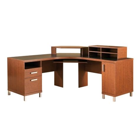 Cheap Black Corner Desk Cheap South Shore Furniture U Work Collection Corner Desk Autumn Cherry And Solid Black Now