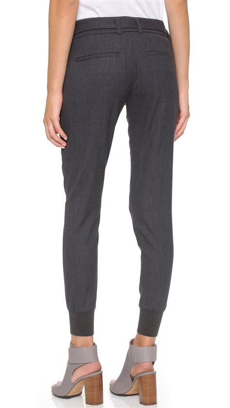 Jogger Pant Rib Black vince belted rib cuff jogger lt h grey in gray lyst